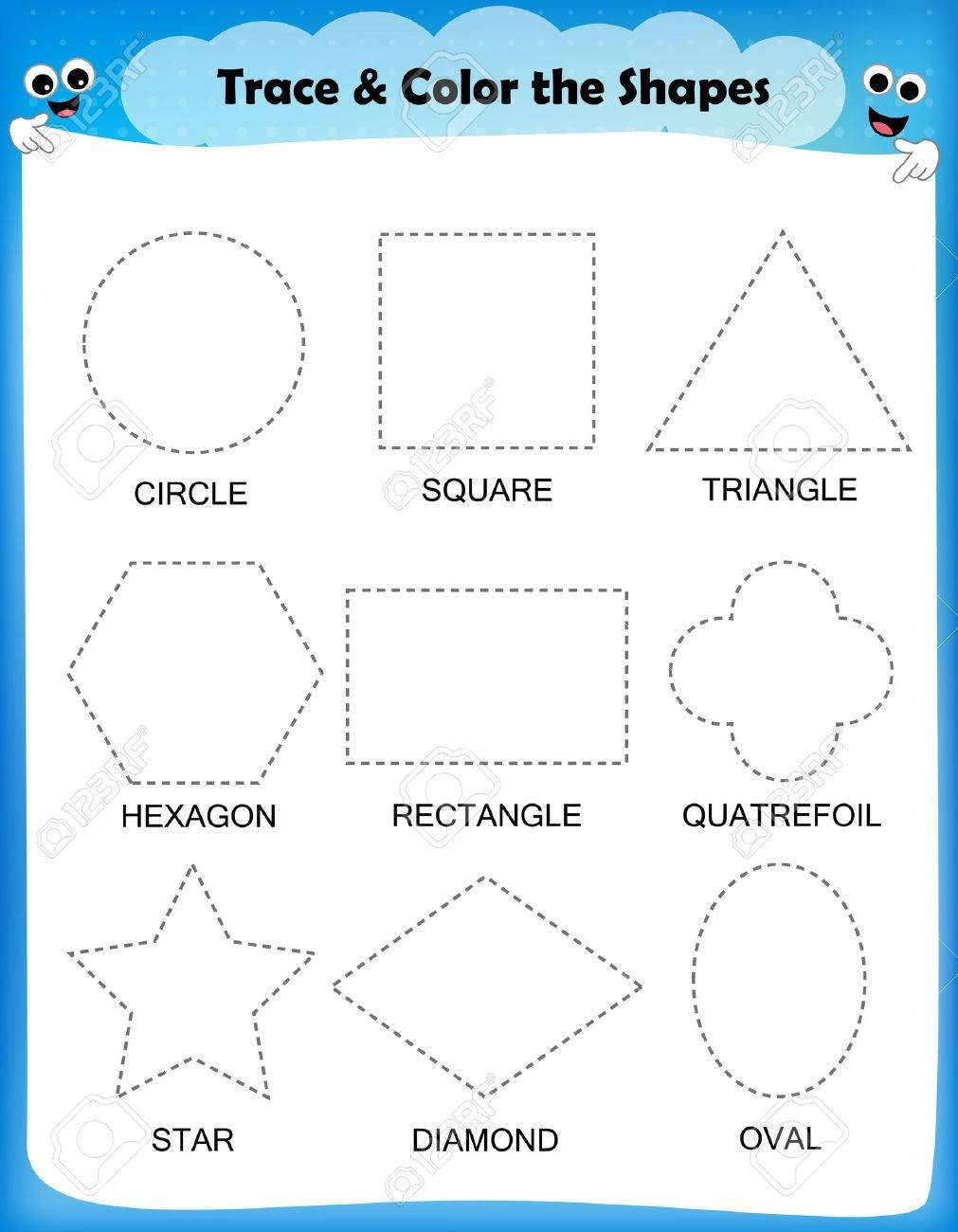 photo stock vector preschool worksheet trace the shapes and color basic writing and coloring practice