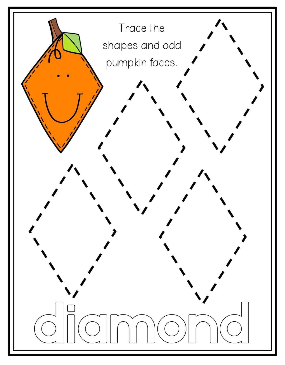 Diamond Worksheets for Preschool Pumpkin Shape Tracing Preschool Mom