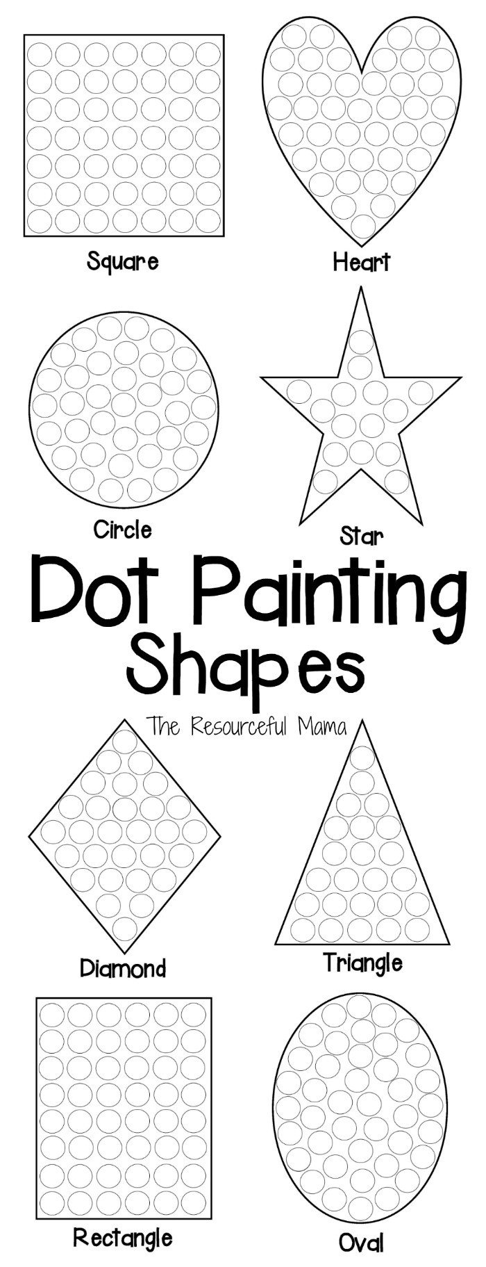 Dot Painting Shapes long collage