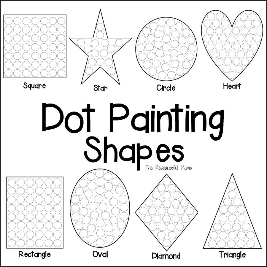 dot painting shapes square collage
