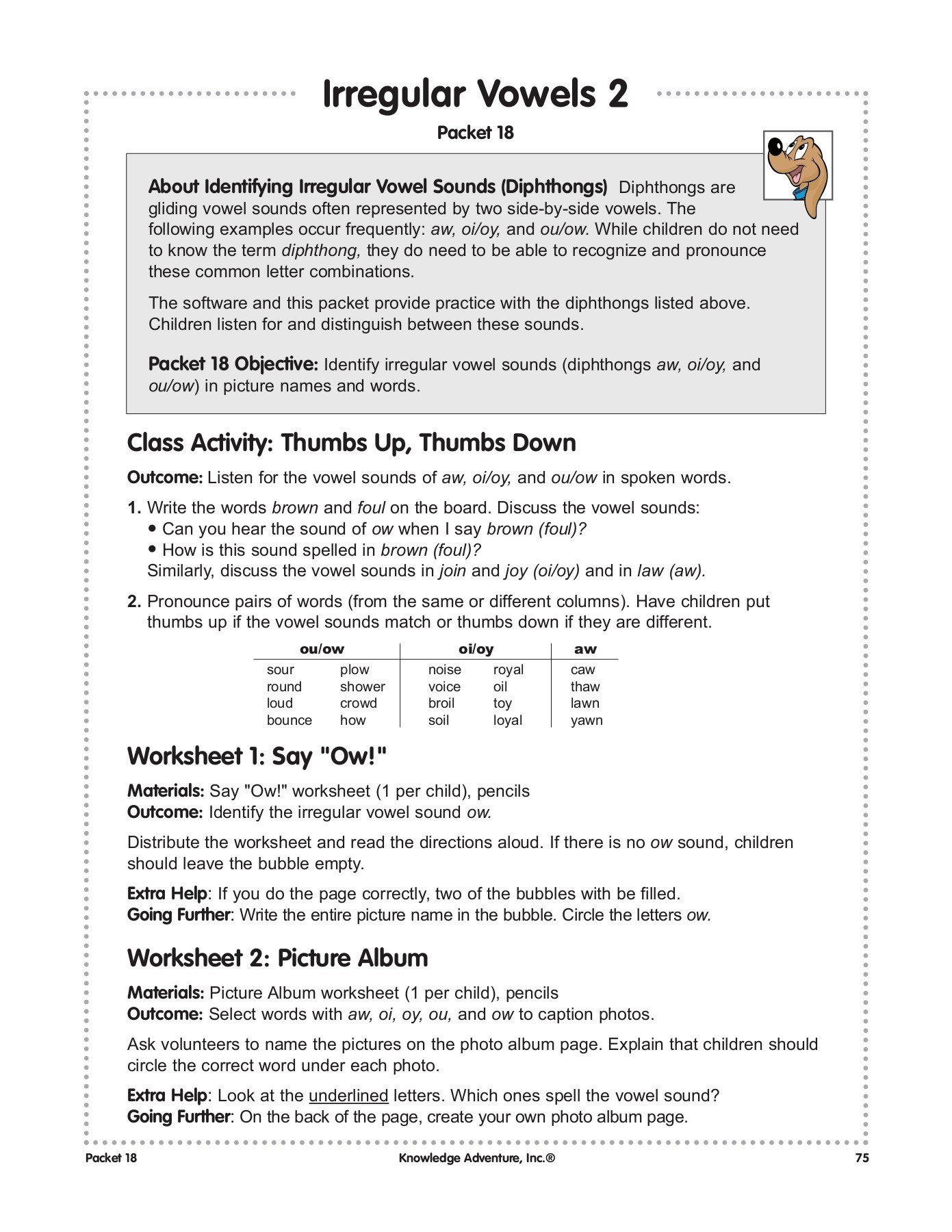 Diphthongs Oi Oy Worksheets Irregular Vowels 2 Jump Start Pages 1 3 Text Version
