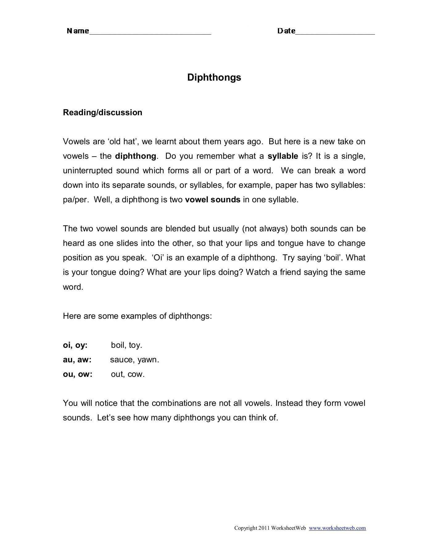 Diphthongs Oi Oy Worksheets Language Dipthongs Worksheet Web Worksheets Lessons