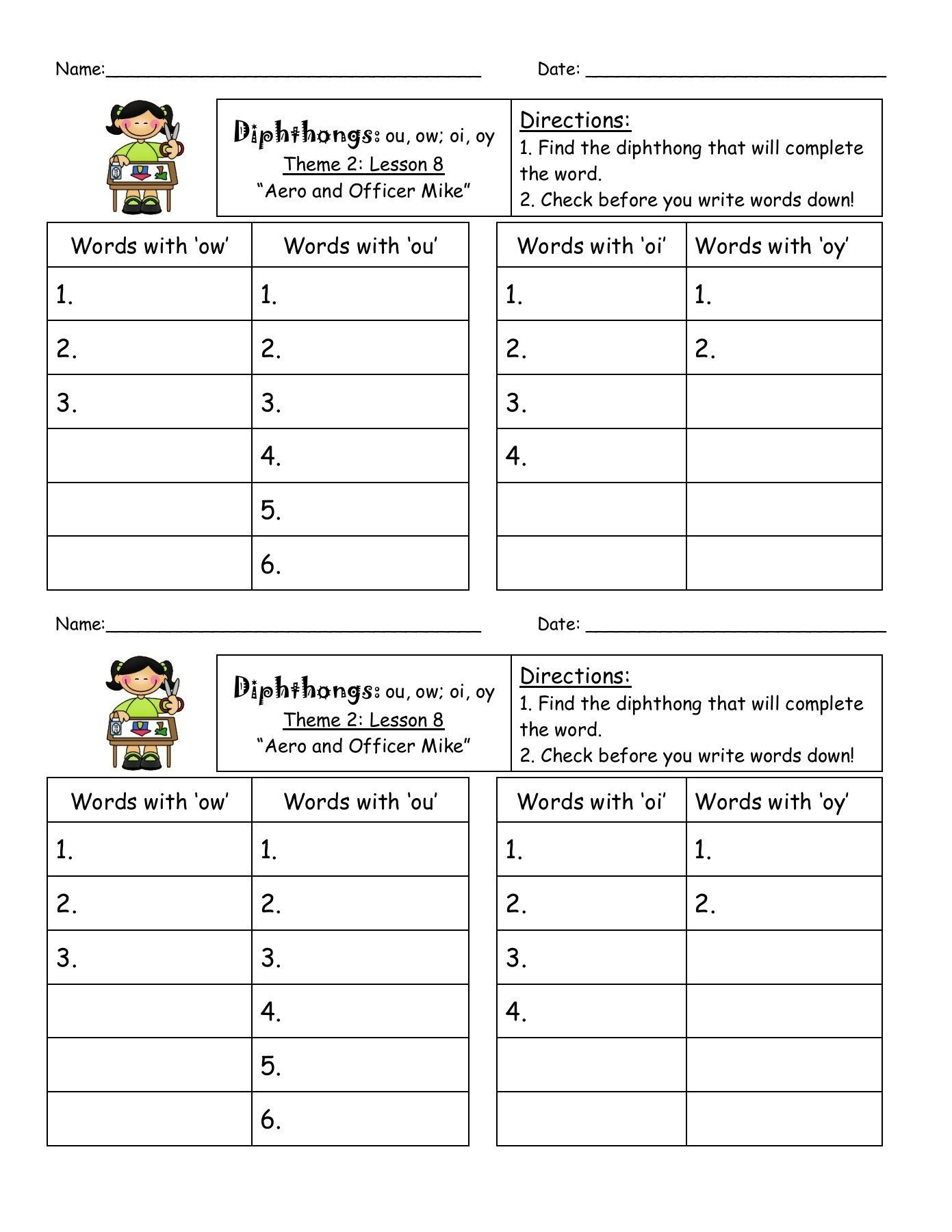 Diphthongs Oi Oy Worksheets Oi and Oy Words Worksheet
