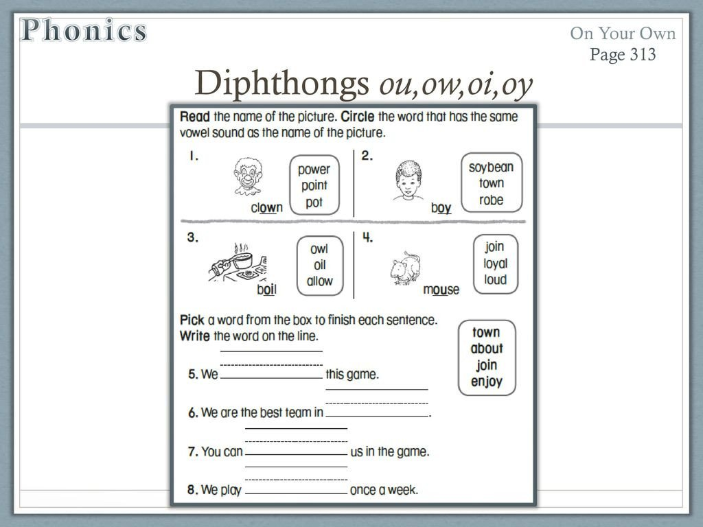 Diphthongs Oi Oy Worksheets Unit 4 Week 3 soil Ppt