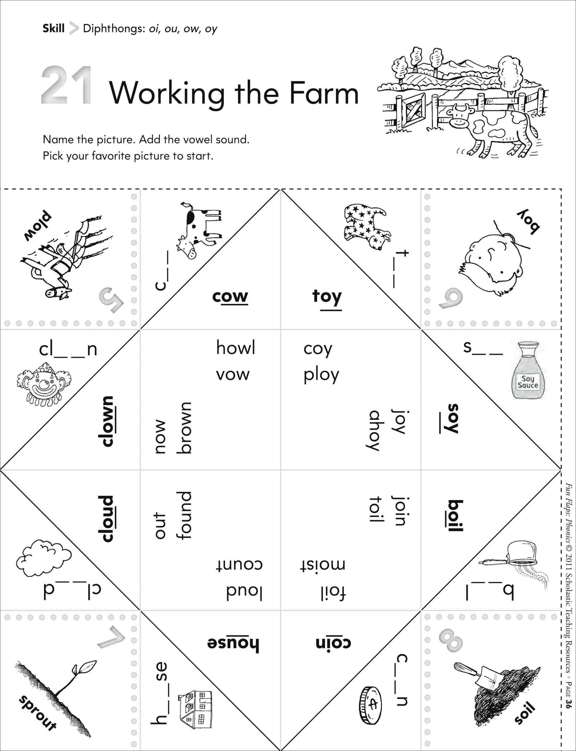 Diphthongs Oi Oy Worksheets Vowel Diphthongs Ou Ow Worksheet