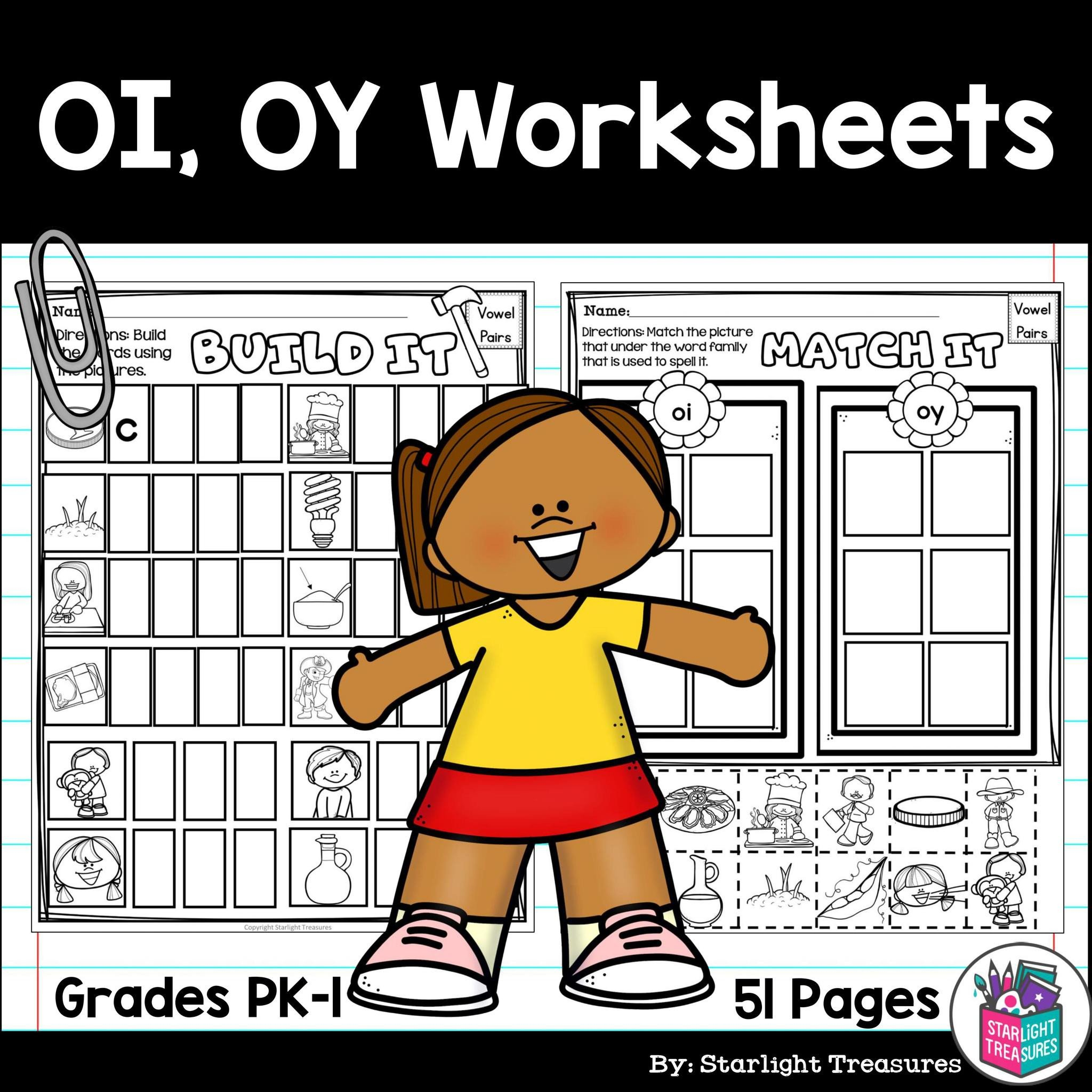 Diphthongs Oi Oy Worksheets Vowel Pairs Oi Oy Worksheets and Activities for Early