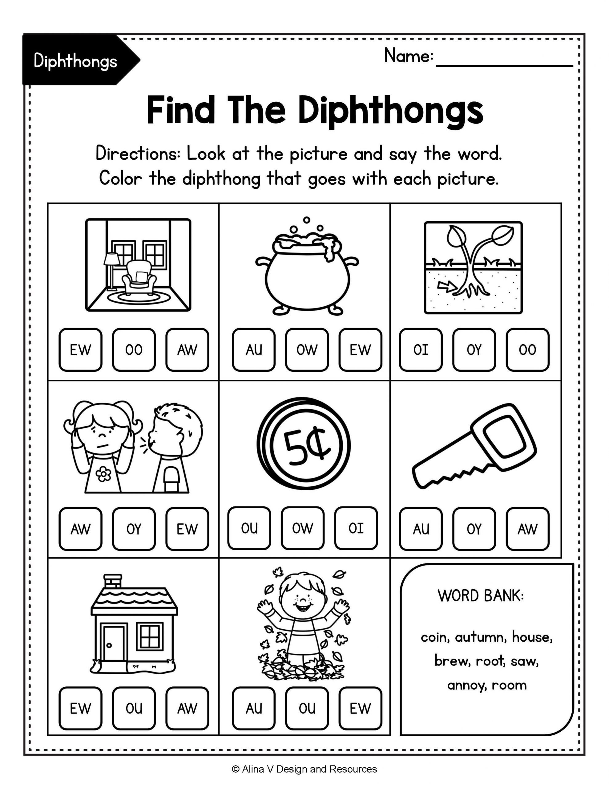 Diphthongs Worksheets Pdf Diphthong Activities Bundle Diphthong Activities Vowel
