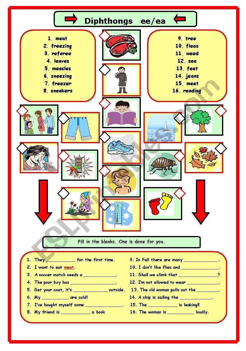 Diphthongs Worksheets Pdf Diphthong Ee Ea Esl Worksheet by Errie