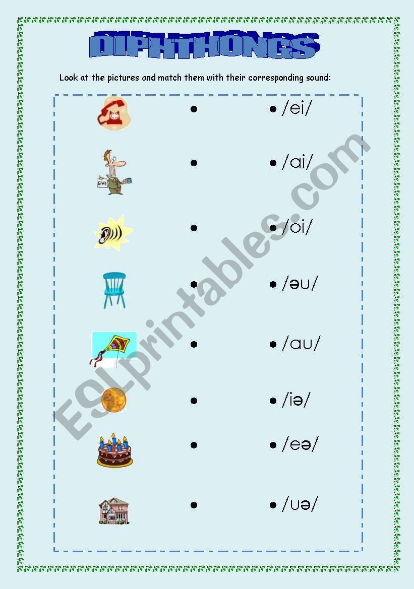 Diphthongs Worksheets Pdf Phonetics Diphthongs Esl Worksheet by Vemare
