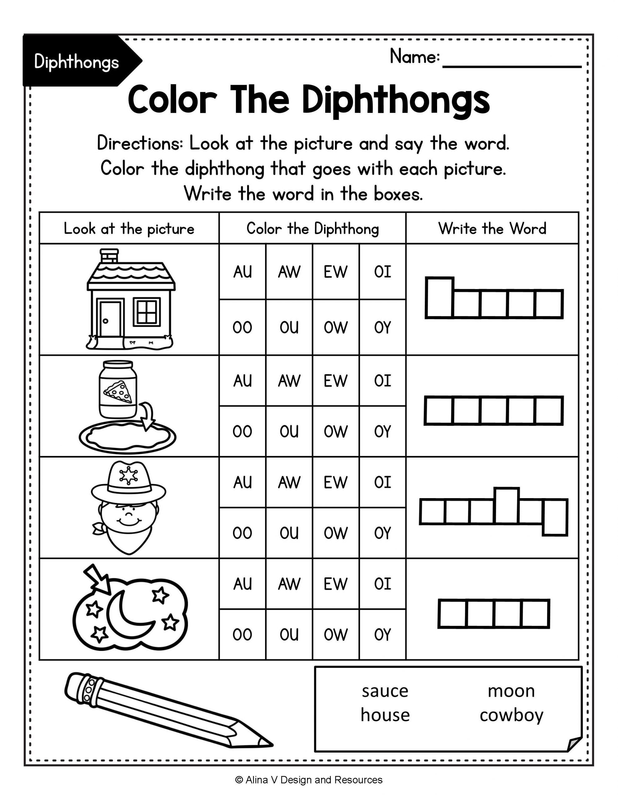 Diphthongs Worksheets Pdf Pin On Alina V Design