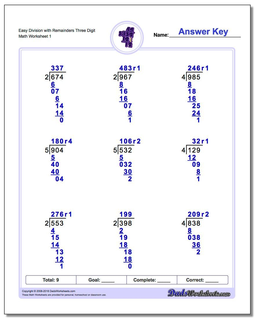 Division Worksheets for Grade 2 Long Division Worksheets with Remainders