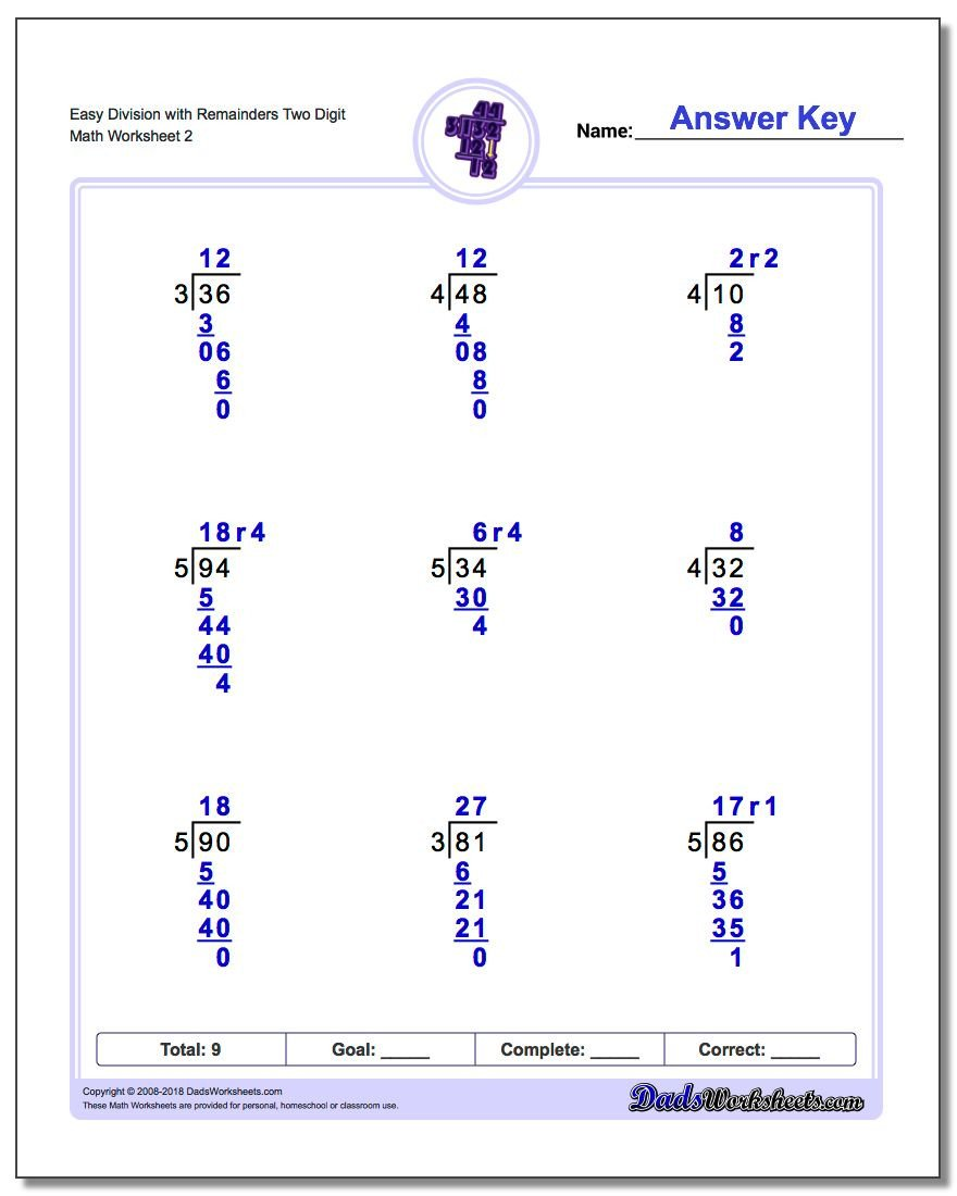easy two digit division with remainders v2