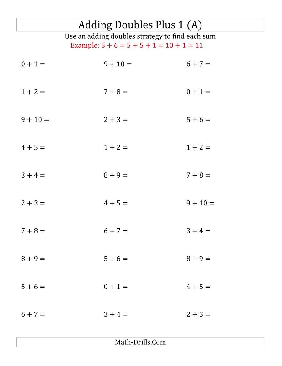 Doubles and Near Doubles Worksheets Adding Doubles Plus 1 Small Numbers A