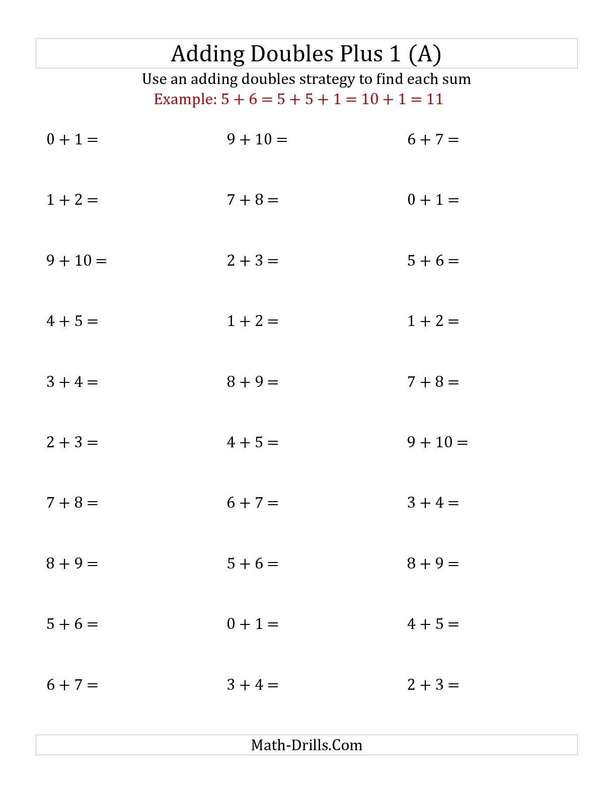 Doubles and Near Doubles Worksheets the Adding Doubles Plus 1 Small Numbers A Math Worksheet
