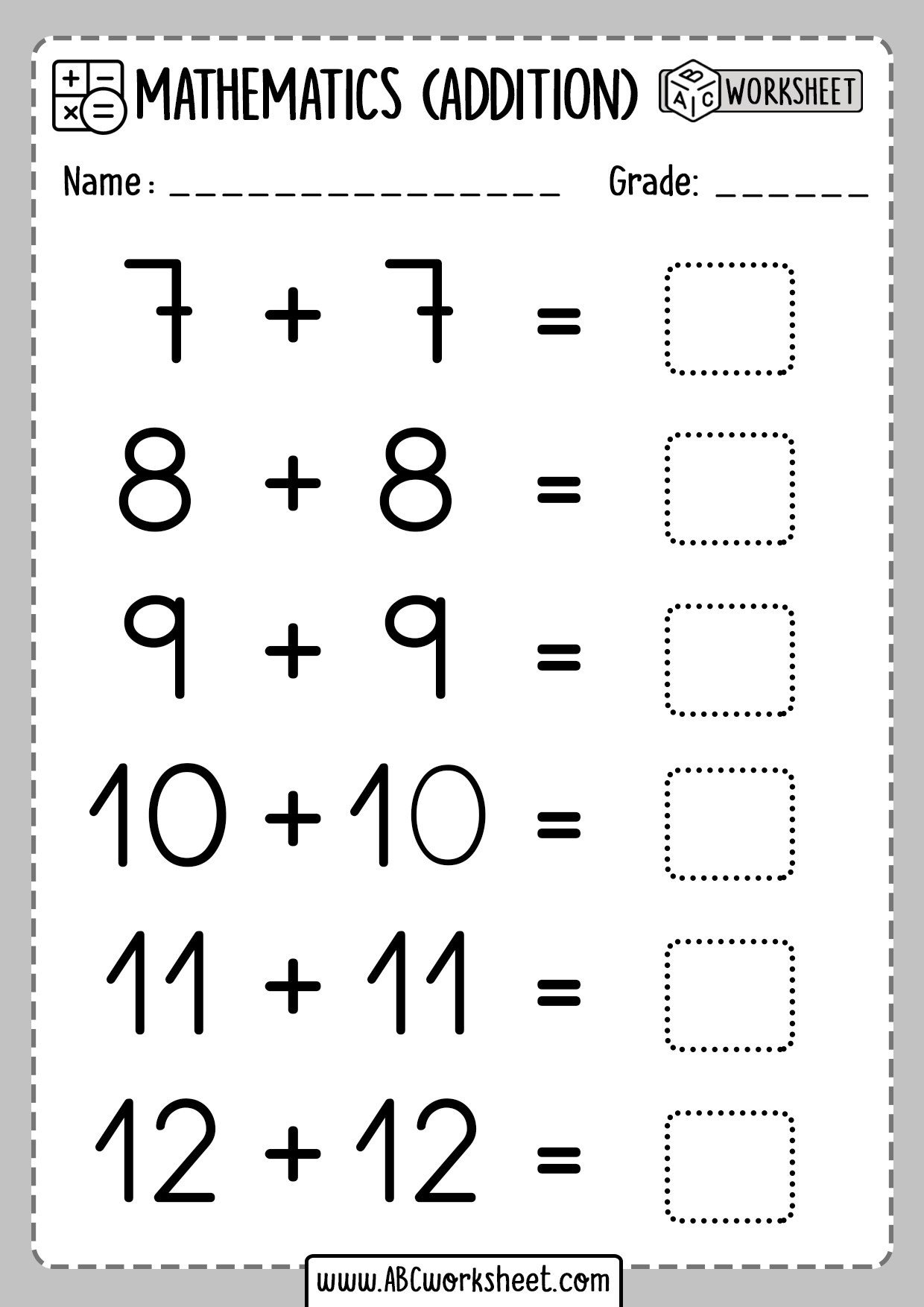 Class Playground Printable Addition Doubles Worksheet