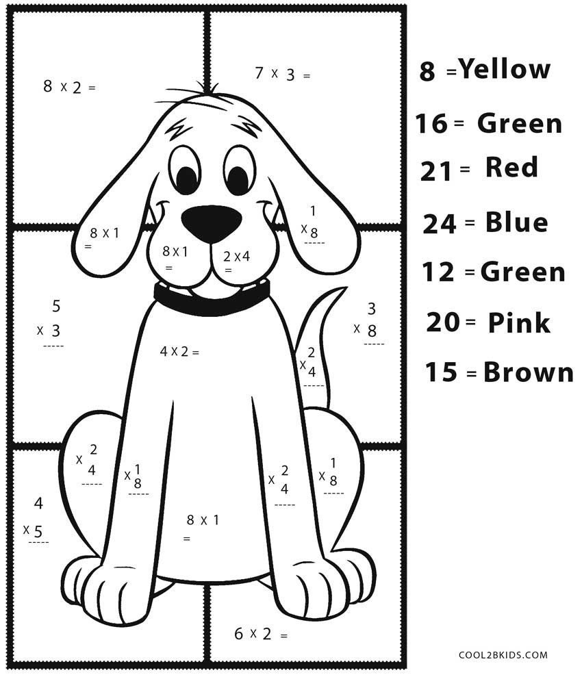 Easy Dog Color by Number Multiplication Math Sheet