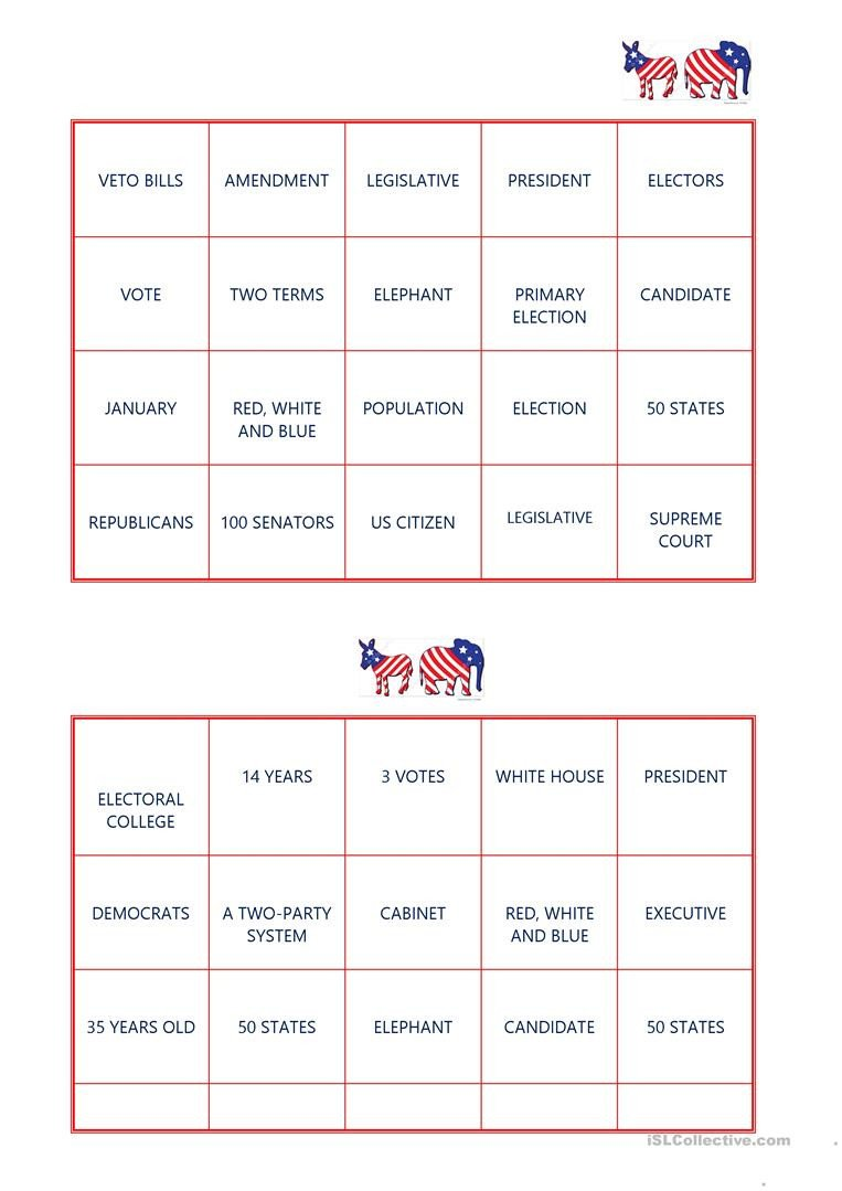Election Day Worksheets American Election Bingo English Esl Worksheets for