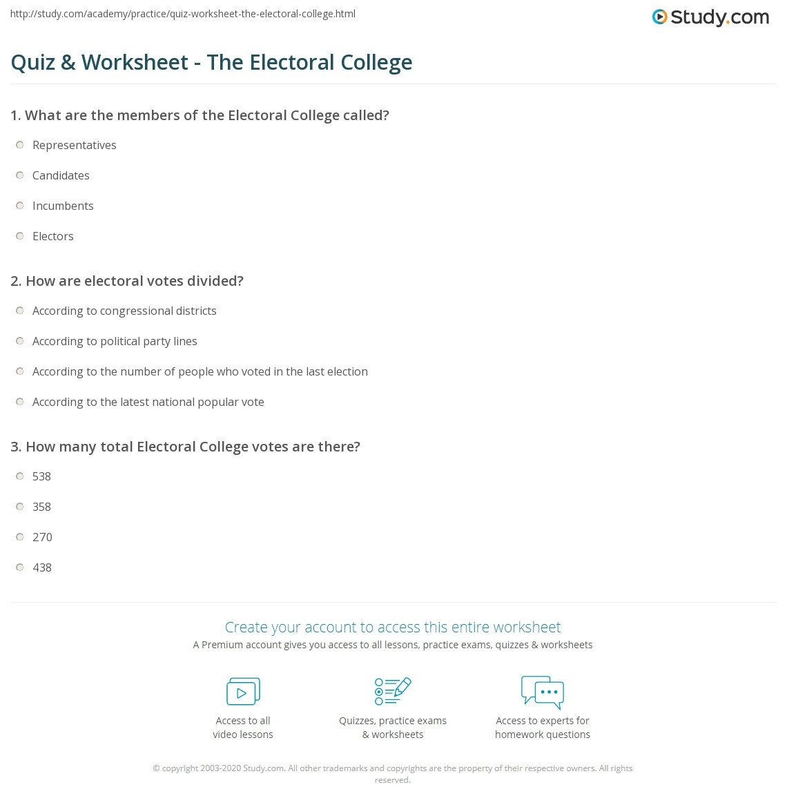 quiz worksheet the electoral college study