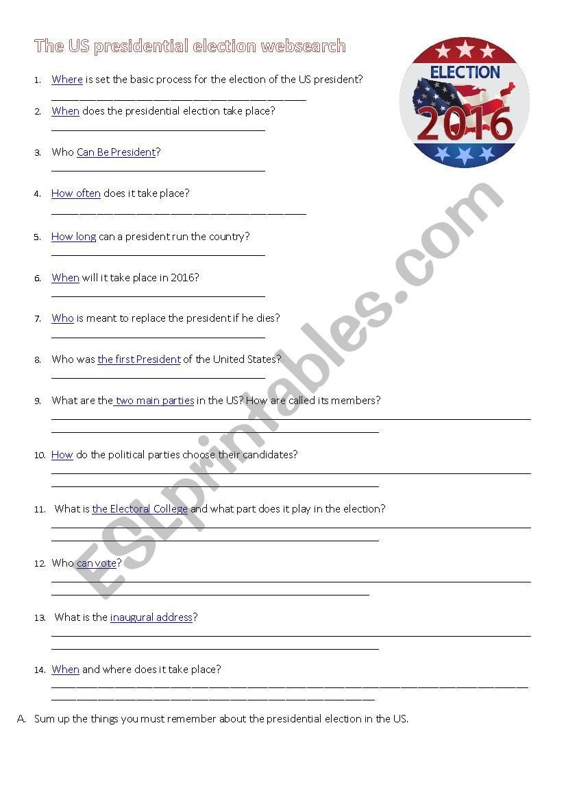 Election Worksheets for Elementary Students 2016 Us Presidential Election Esl Worksheet by Mercierc