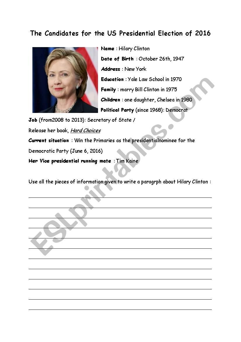 Election Worksheets for Elementary Students Biography Of the Candidates to the Us Election 2016 Esl