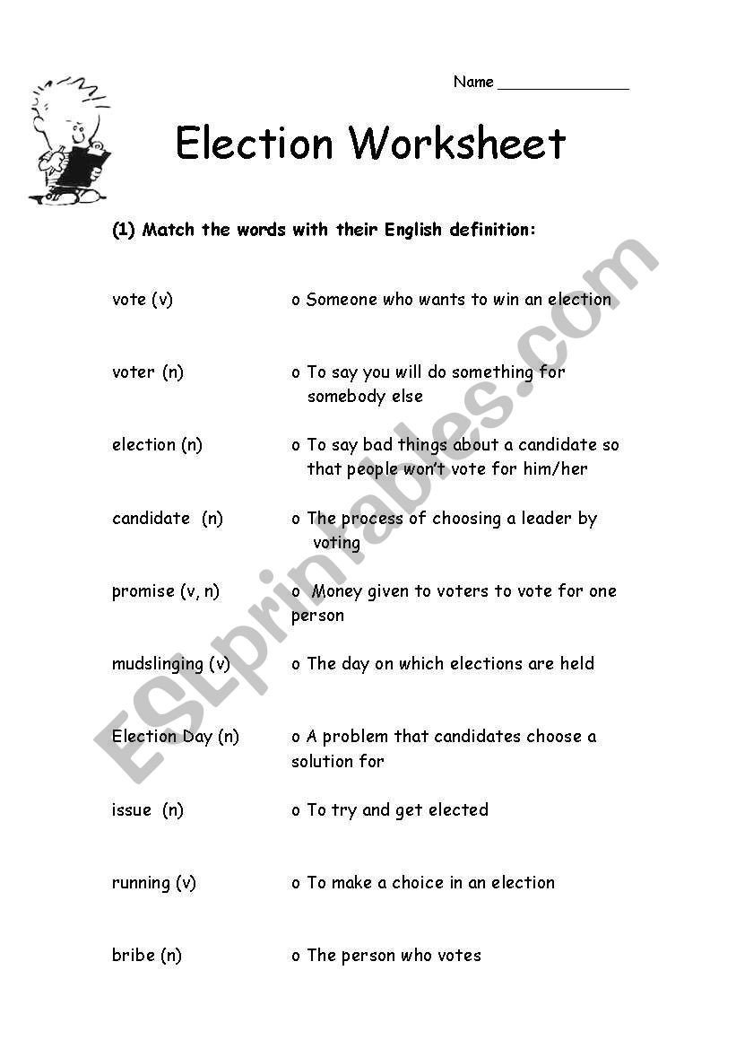 Election Worksheets for Elementary Students Election Vocabulary Esl Worksheet by Jessafish