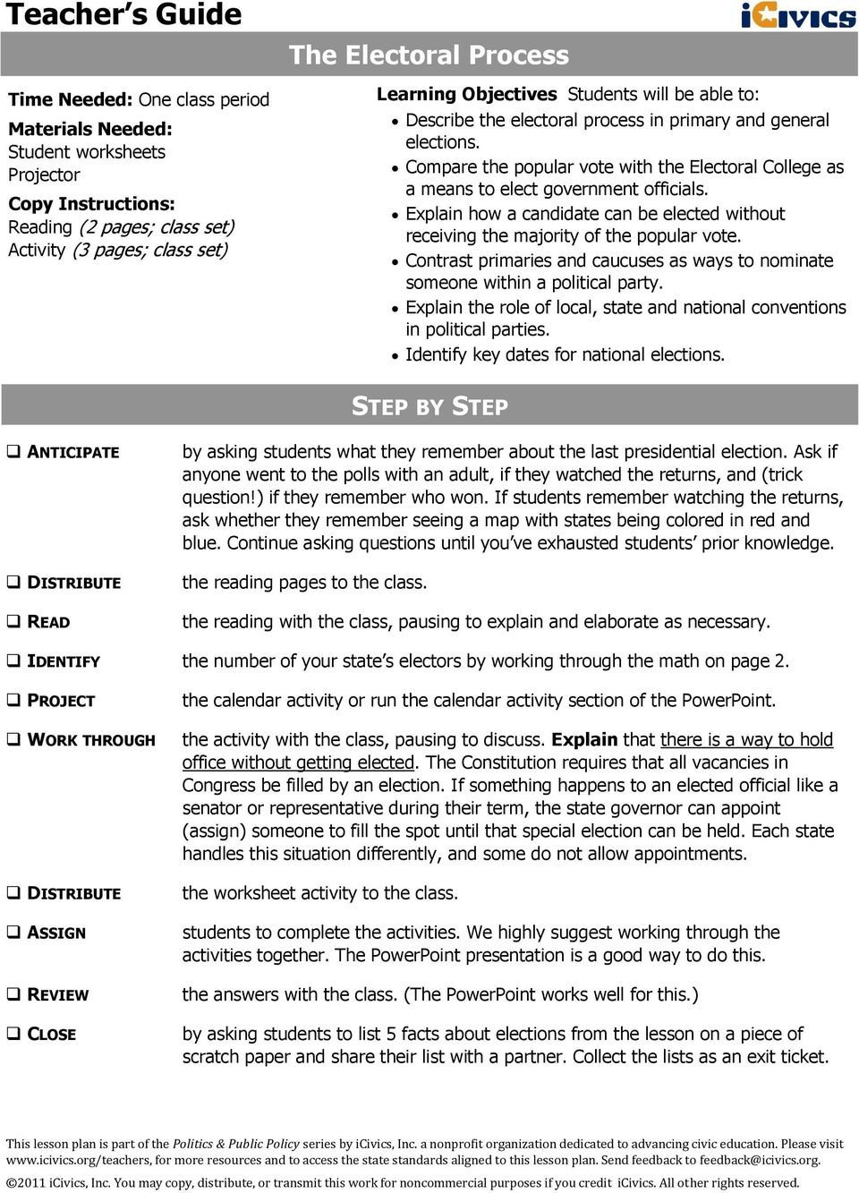 Election Worksheets for Elementary Students the Electoral Process Step by Step the Worksheet Activity
