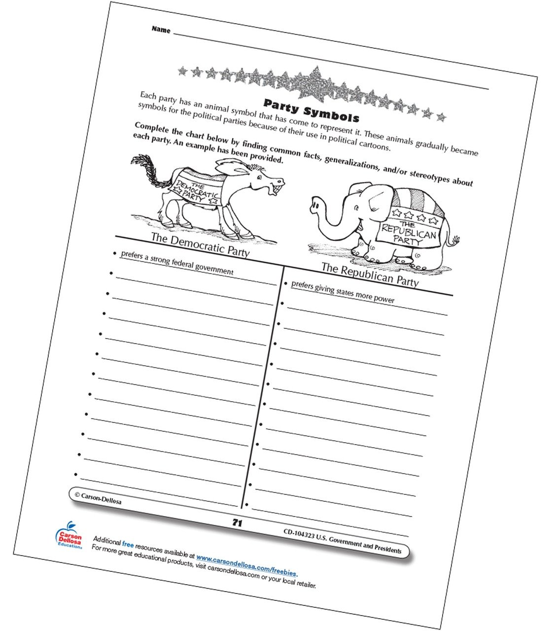 Election Worksheets for Elementary Students U S Political Party Symbols Grades 3 5 Free Printable