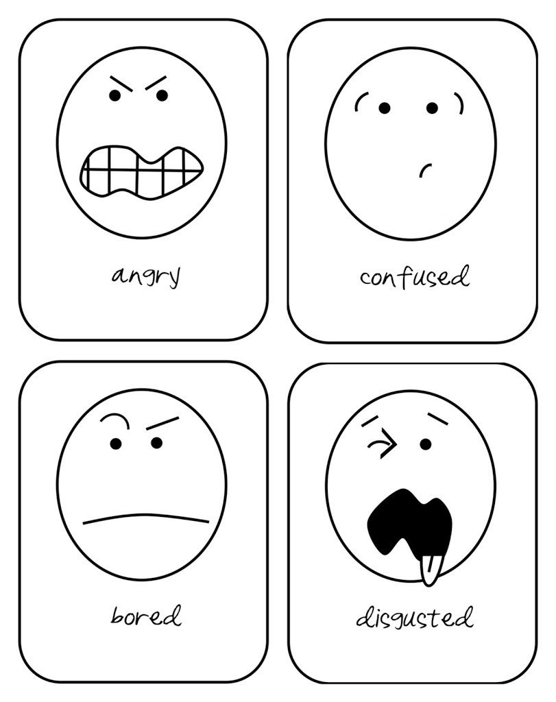 Emotions Worksheets for Preschoolers Emotions Flashcard for Printable Emotions Flashcard