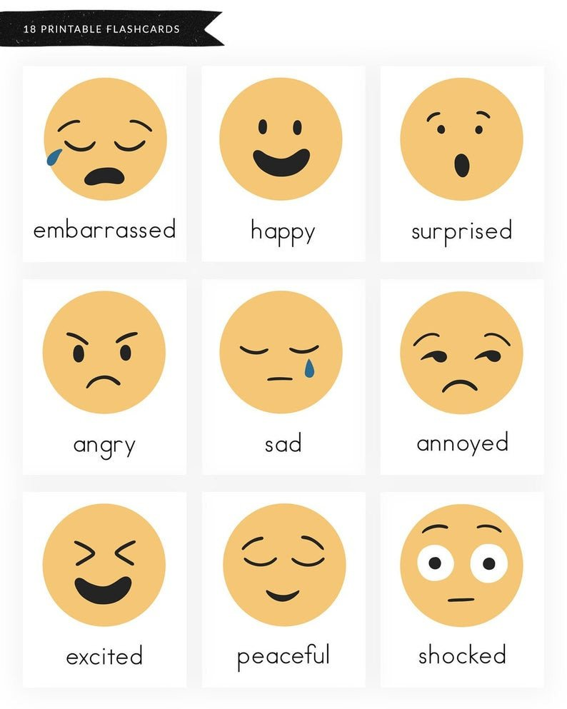 Emotions Worksheets for Preschoolers Emotions Flashcard to Printable Emotions Flashcard
