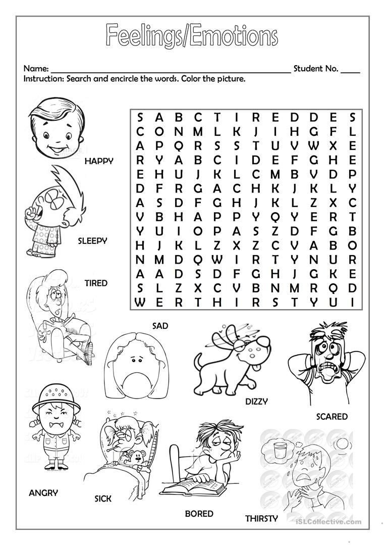 Emotions Worksheets for Preschoolers Feelings Emotions Worksheet Free Esl Printable Worksheets