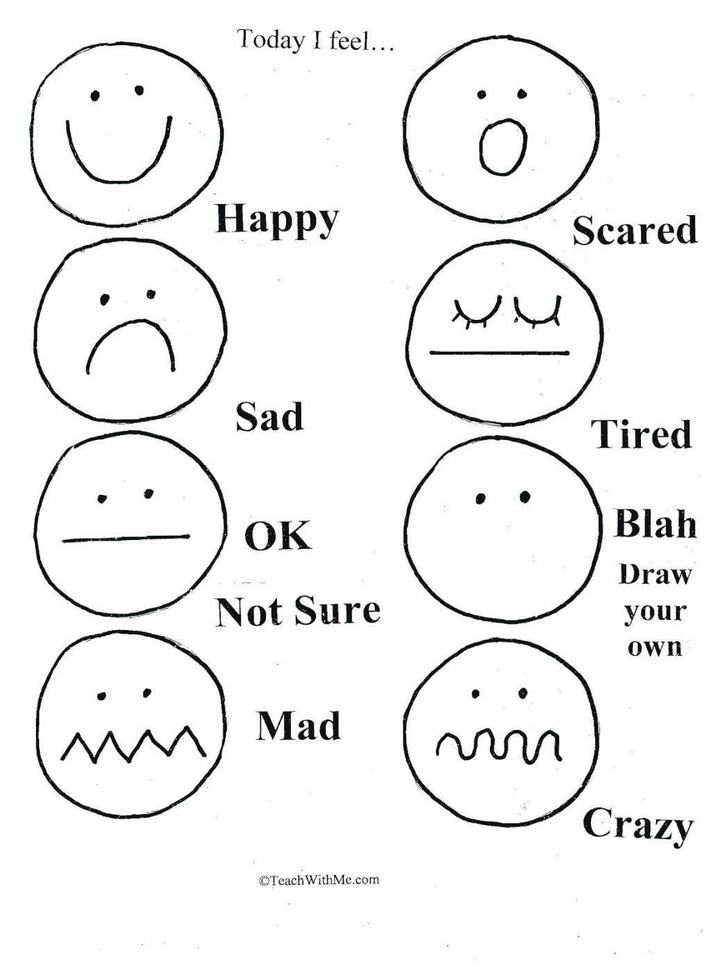 Emotions Worksheets for Preschoolers Free Printable Feelings and Emotions Worksheets
