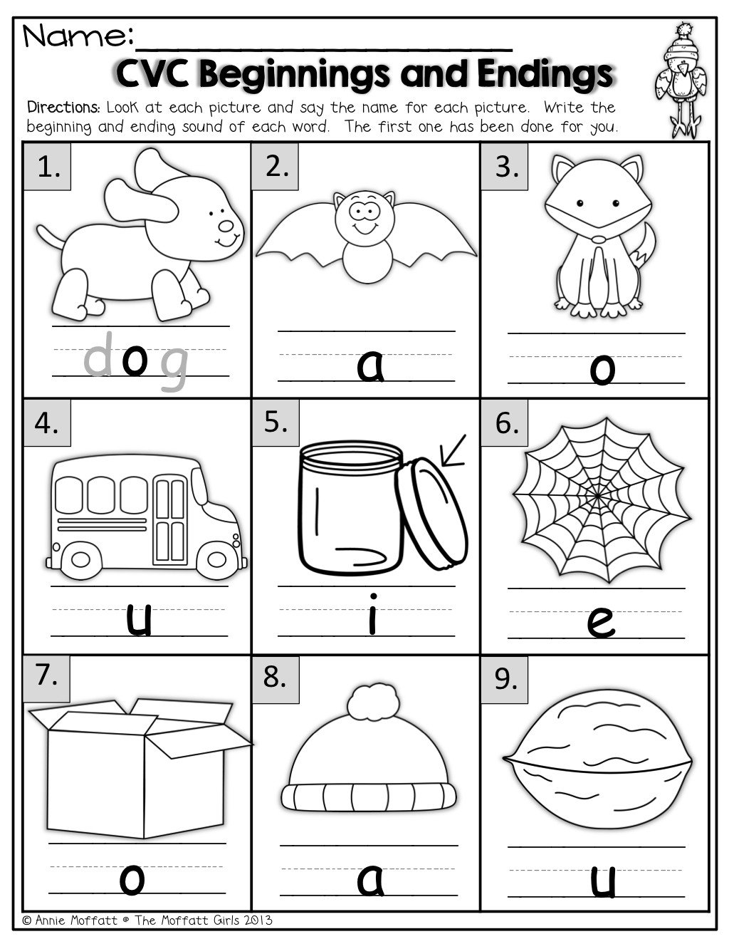 beginning middle end sounds kindergarten worksheets cvc beginning and endings 1