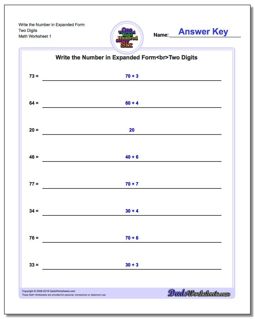 Expanded form Worksheets 1st Grade Standard Expanded and Word form