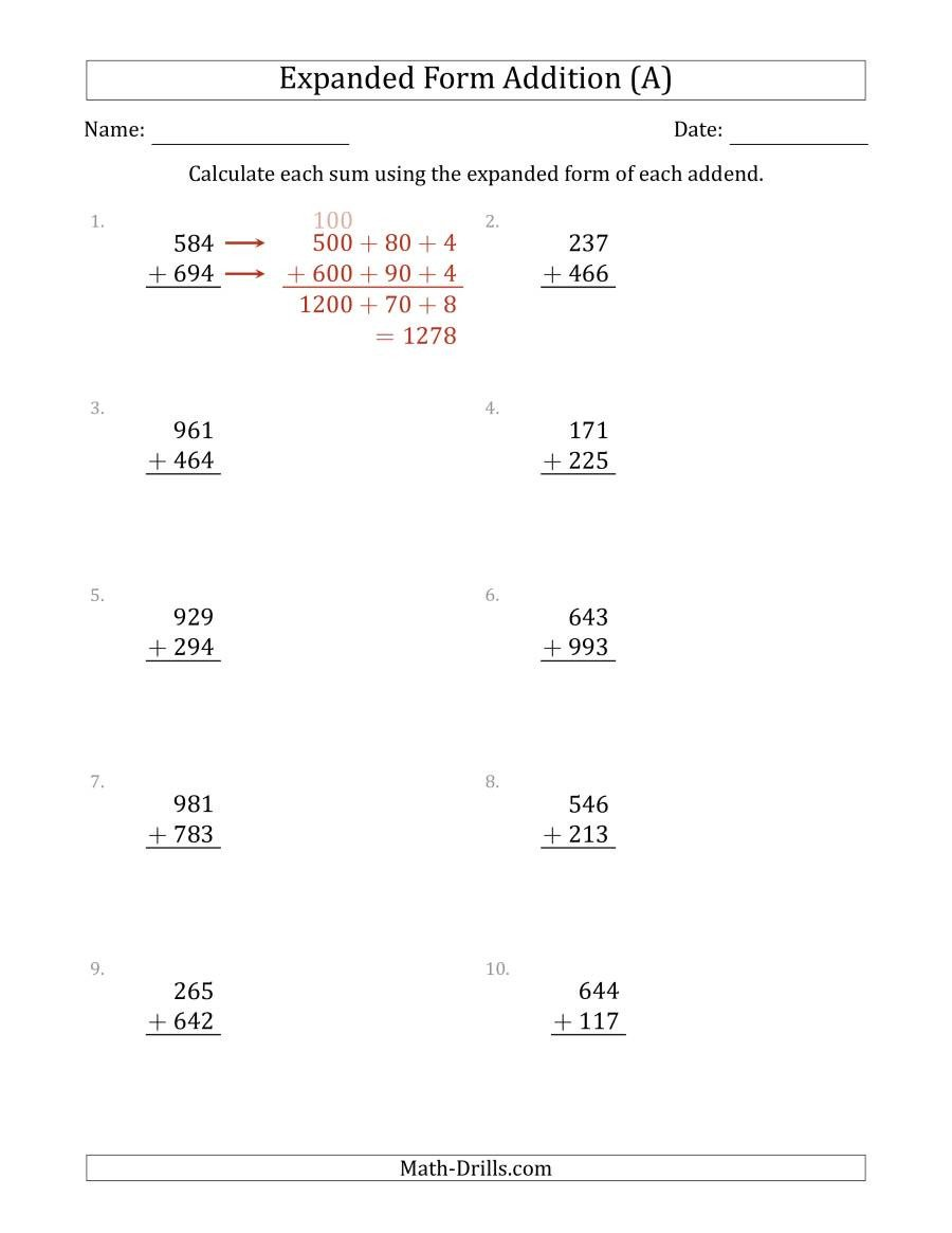 Expanded Notation with Decimals Worksheets 3 Digit Expanded form Addition A