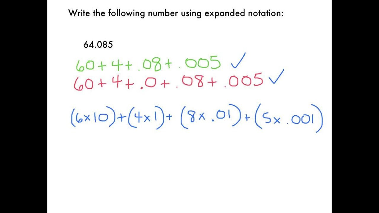 Expanded Notation with Decimals Worksheets Expanded Notation Decimals