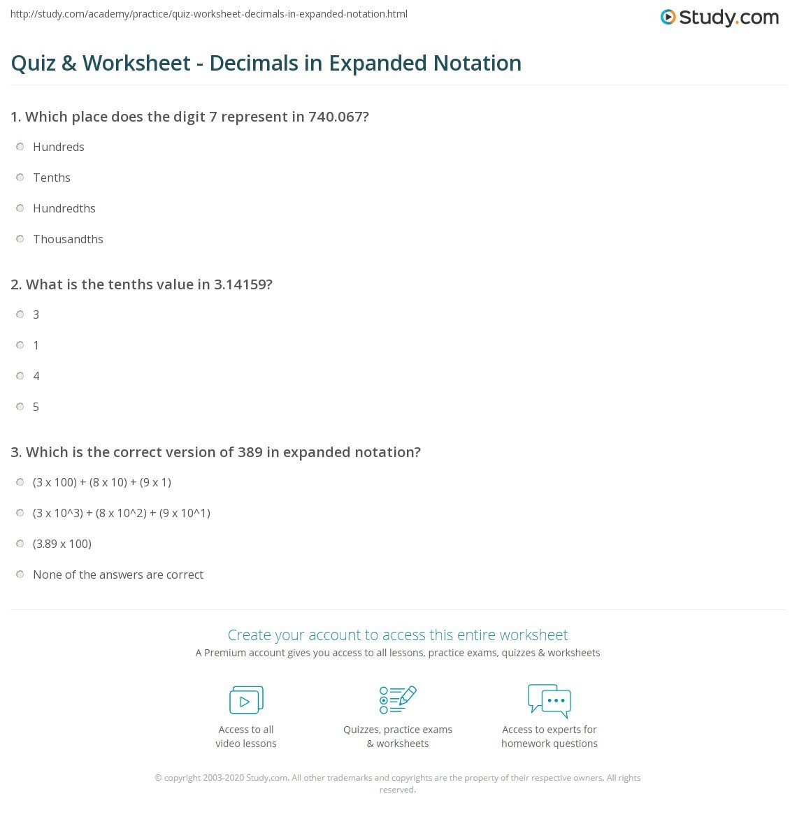 quiz worksheet decimals in expanded notation