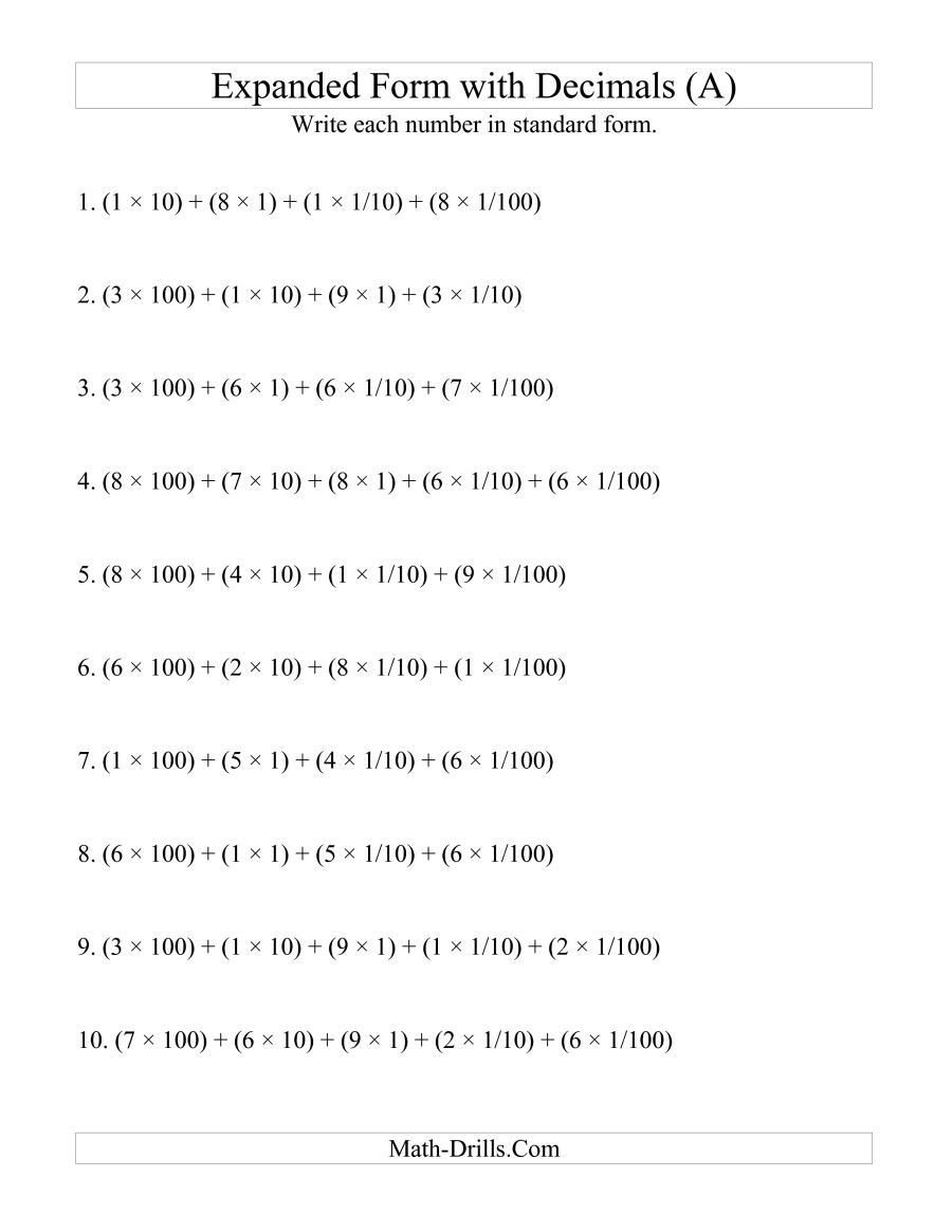 Expanded Notation with Decimals Worksheets the Convert From Expanded to Standard From 3 Digits before