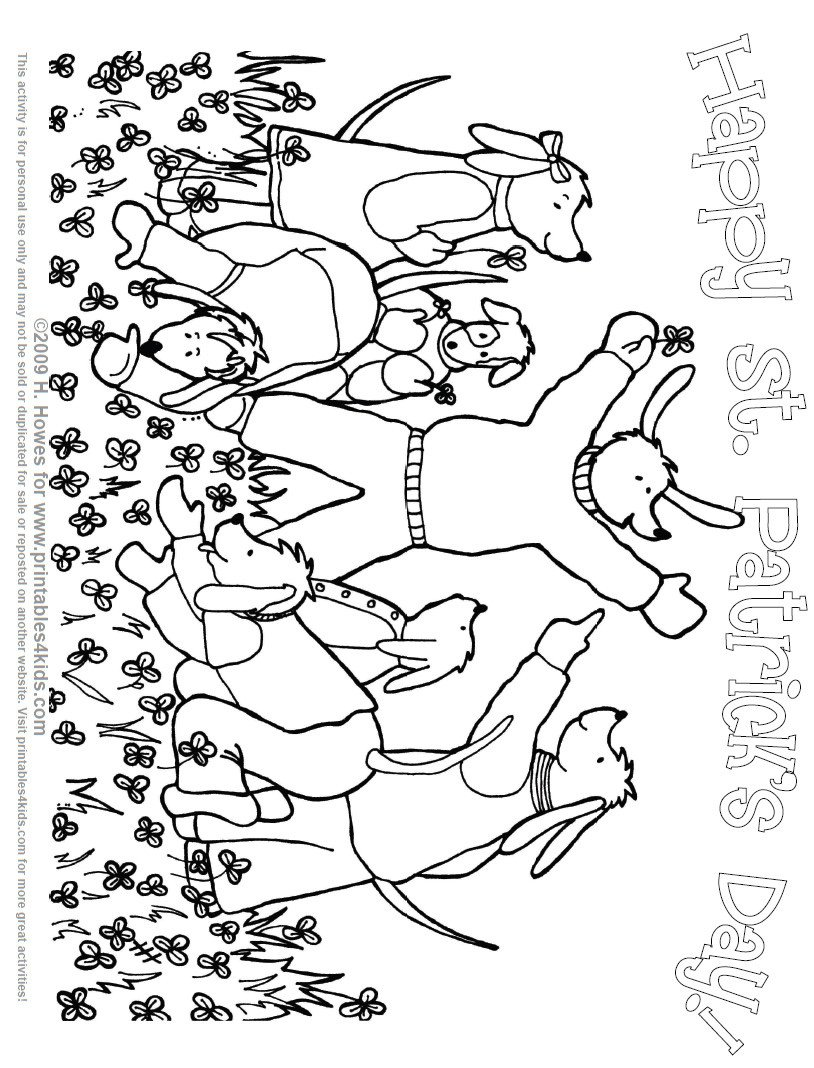 st patricks day clovers dogs coloring