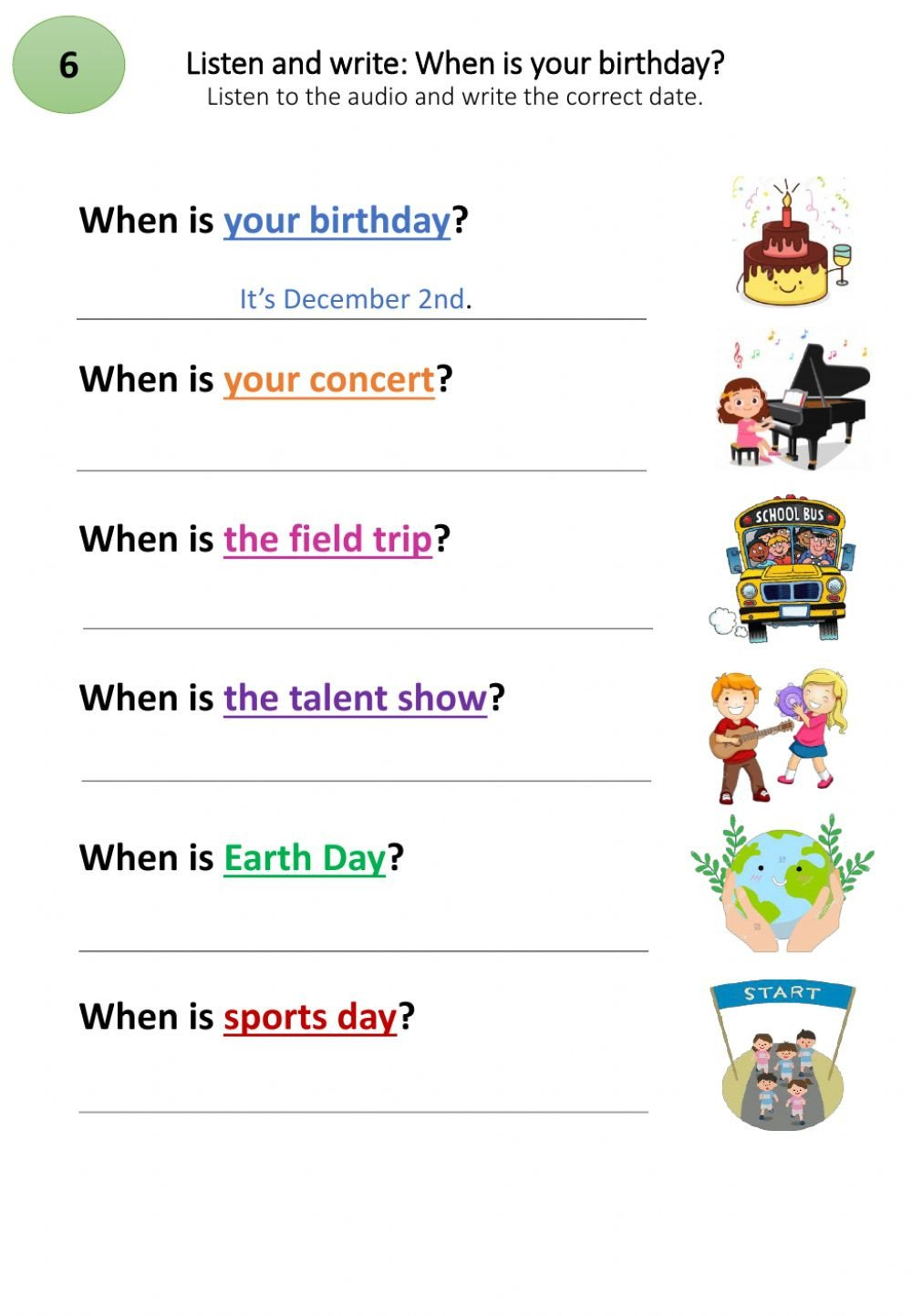 Field Day Worksheets when is Your Birthday Interactive Worksheet