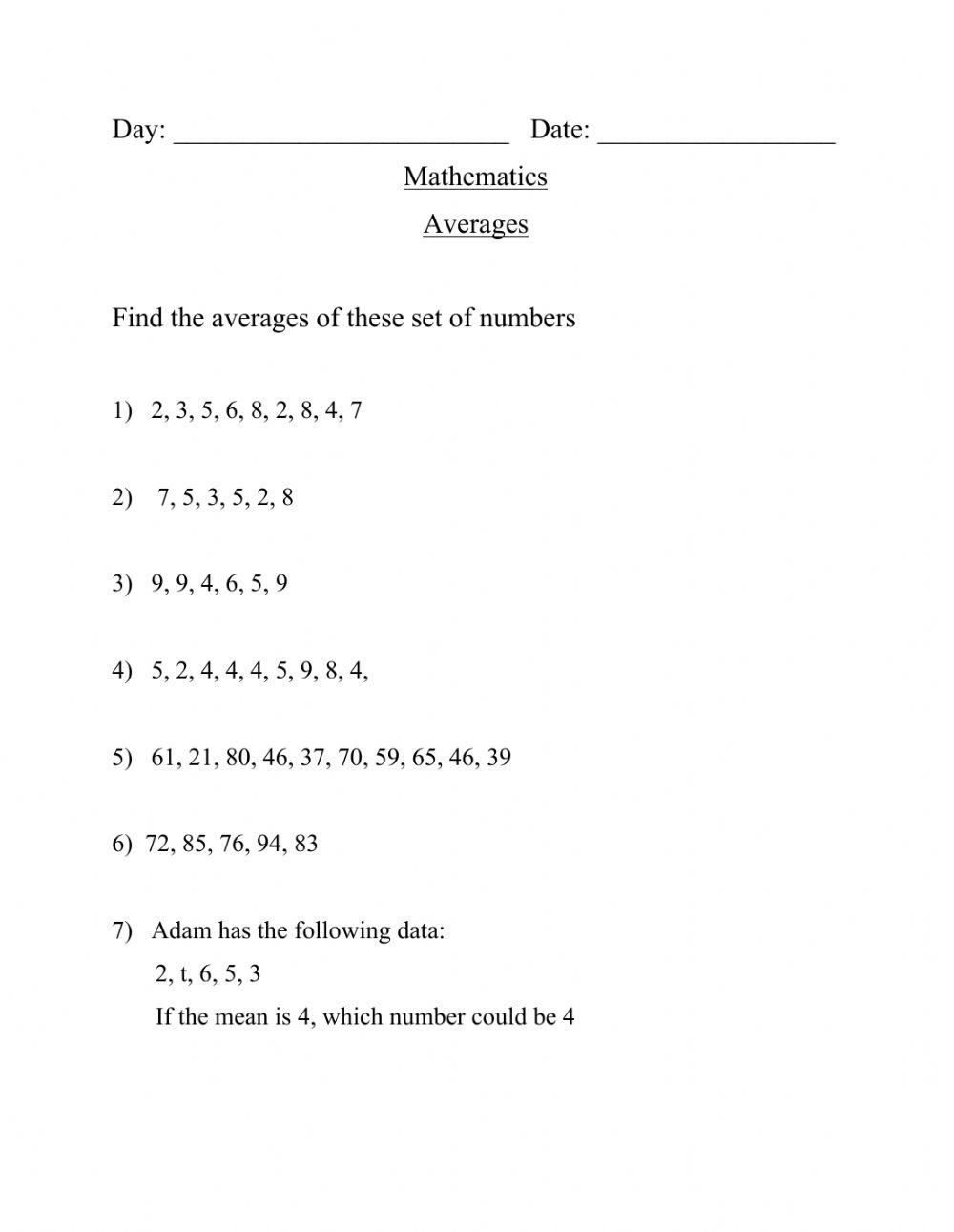 Finding the Mean Worksheets Finding the Mean and Mode Interactive Worksheet