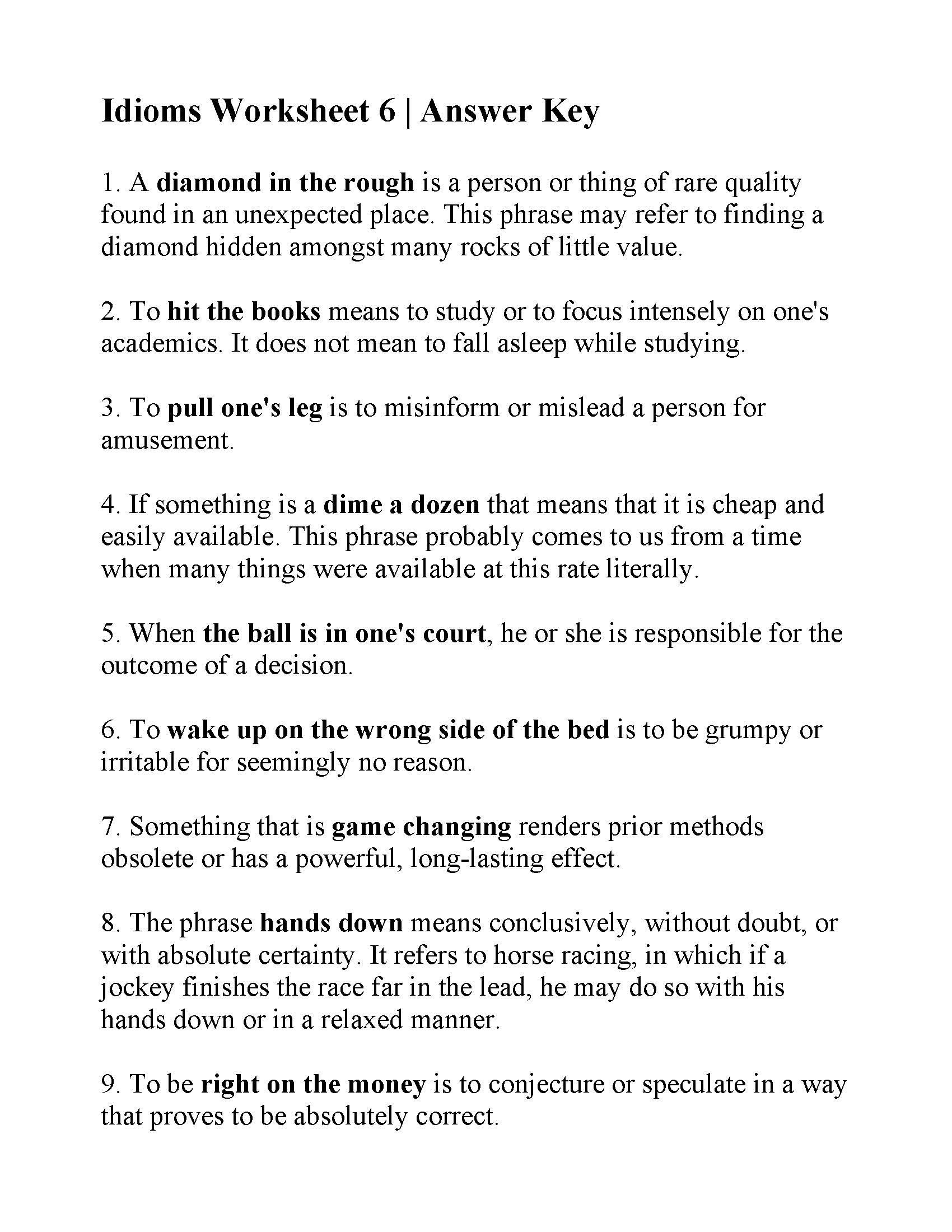 Finding the Mean Worksheets Idioms Worksheet 6