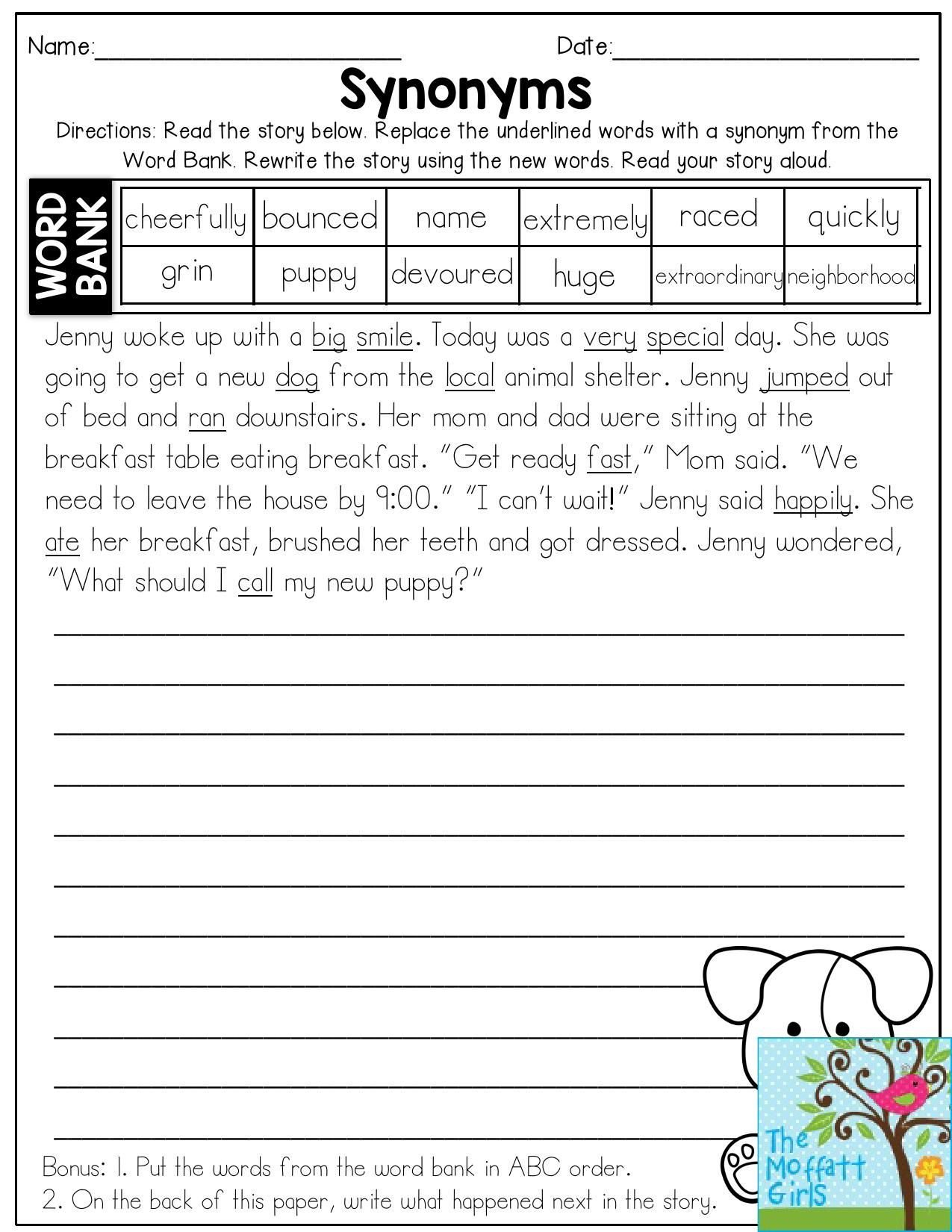 First Grade Antonyms Worksheet Synonyms Read