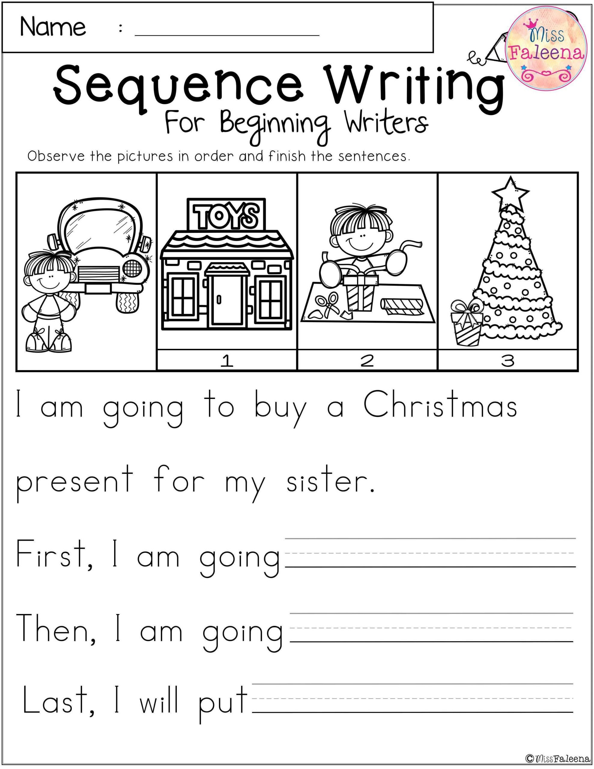 First Grade Sequencing Worksheets December Sequence Writing for Beginning Writers