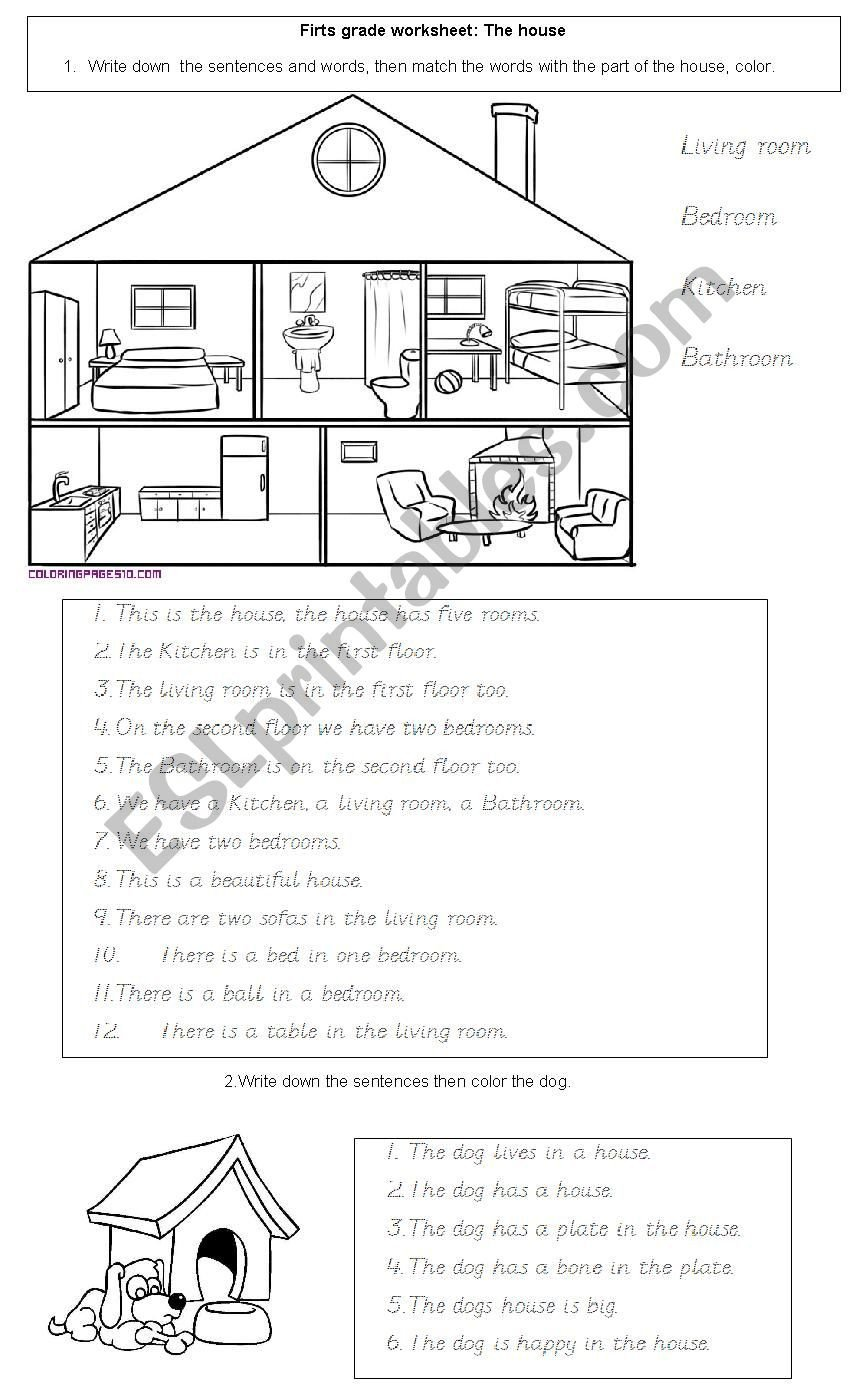 First Grade Vocabulary Worksheets House Vocabulary for First Grade Esl Worksheet by Pukkax