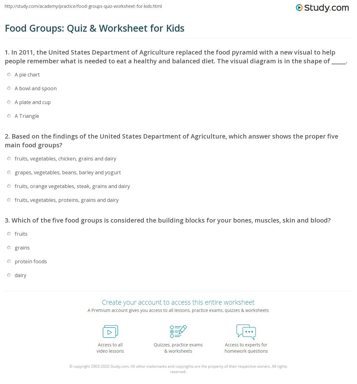Five Food Groups Worksheets Food Groups Quiz & Worksheet for Kids