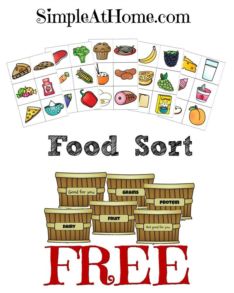 Five Food Groups Worksheets Free Food Groups sort Printables