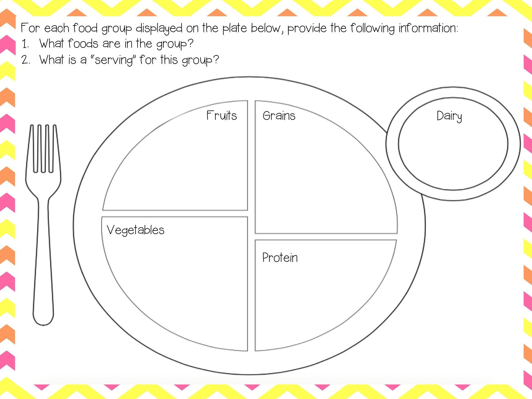 Five Food Groups Worksheets Mini Unit Nutrition – the 5e Teacher