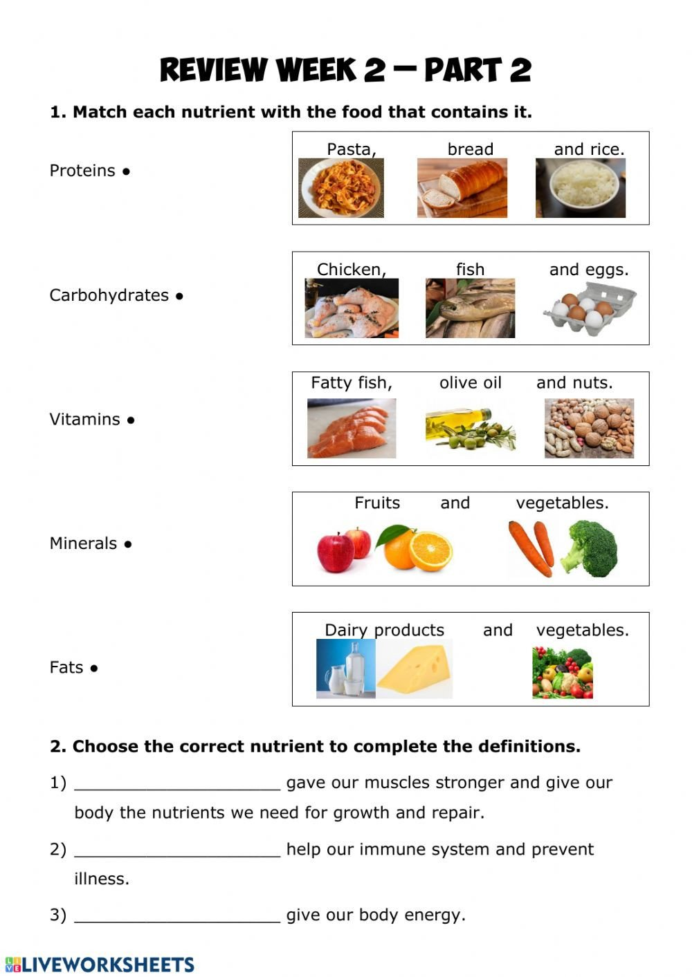 Five Food Groups Worksheets Nutrition Review 2 2 Interactive Worksheet