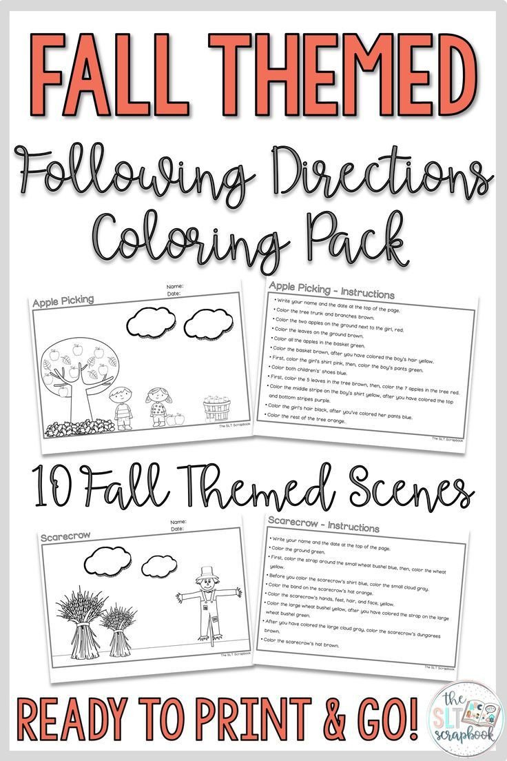 Following Directions Coloring Worksheet Fall themed Following Directions Coloring Pack Mixed