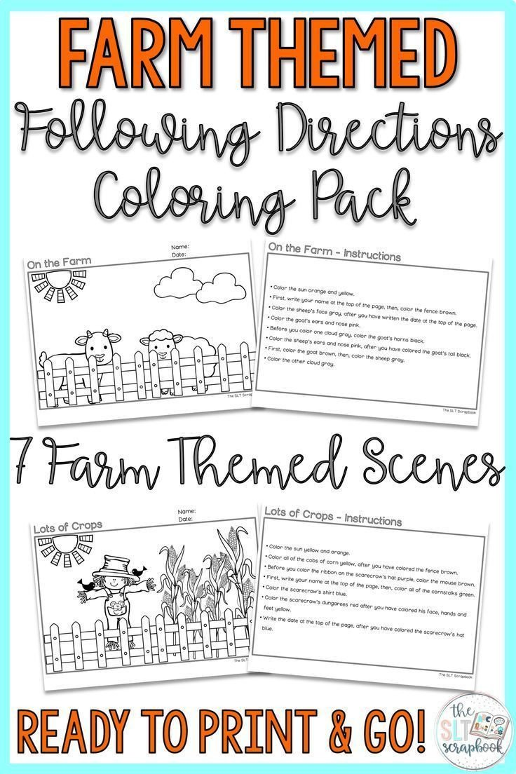 Following Directions Coloring Worksheet Farm themed Following Directions Coloring Pack Mixed